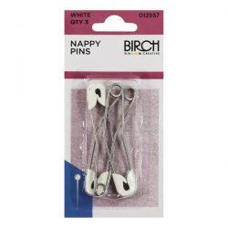 Nappy Pins White 3Pk