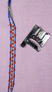Cording completed with Janome H Foot (9mm Cording Foot)