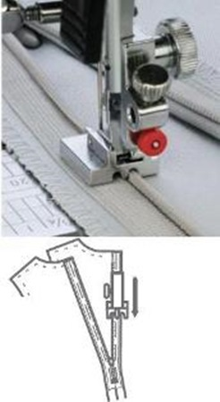 Janome concealed zipper foot in use