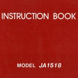 Instruction Manual: Janome JA1518 (Digital Copy)