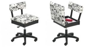 Horn Gas Lift Sewing Chair Opened and Closed ()