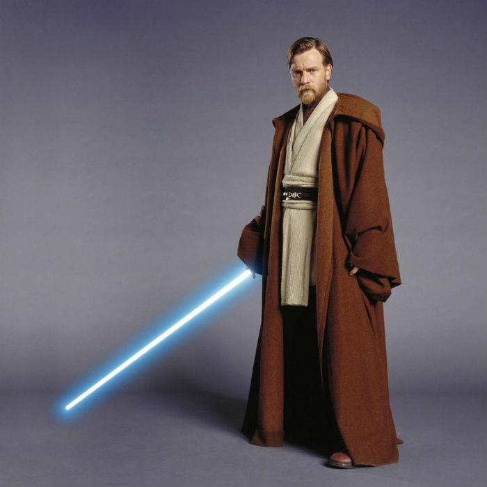 Jedi Obi-Wan Kenobi in Jedi robe.