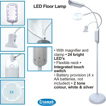 Triumph led floor lamp with magnifier and clip mozeypictures Images