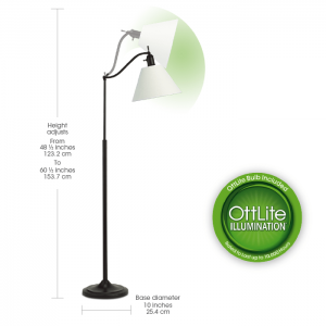 Ott lite Marietta Floor Lamp with the height and width of the reading lamp