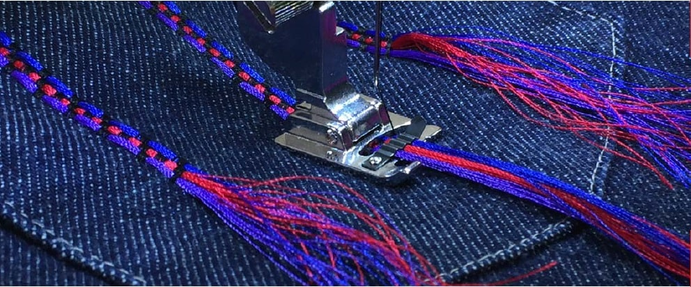 Janome Cording foot for attaching decorative cord to fabric