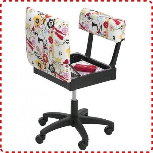 Horn Gas Lift Sewing Chair Opened
