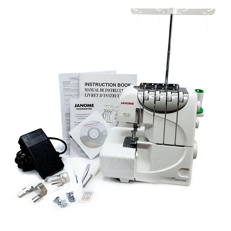 The Janome My Lock 544D with all standard accessories