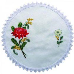 Waratah Embroidery Doily Kit 30Cm
