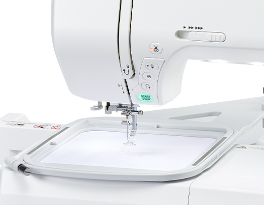 The large embroidery area on the Janome MC9850
