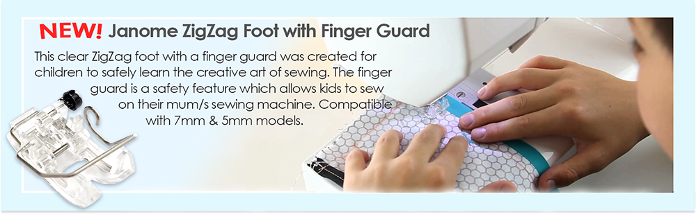 Janome ZZ Foot With Finger Guard being sewn with by a young child