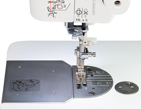 Closeup of the Janome HD9 Needle Plate